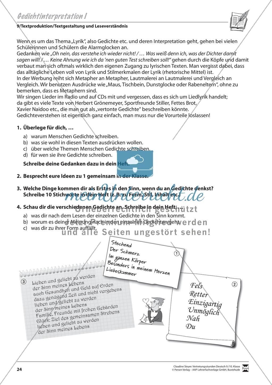 Grundlagen und Überblickswissen zur Gedichtinterpretation Preview 0