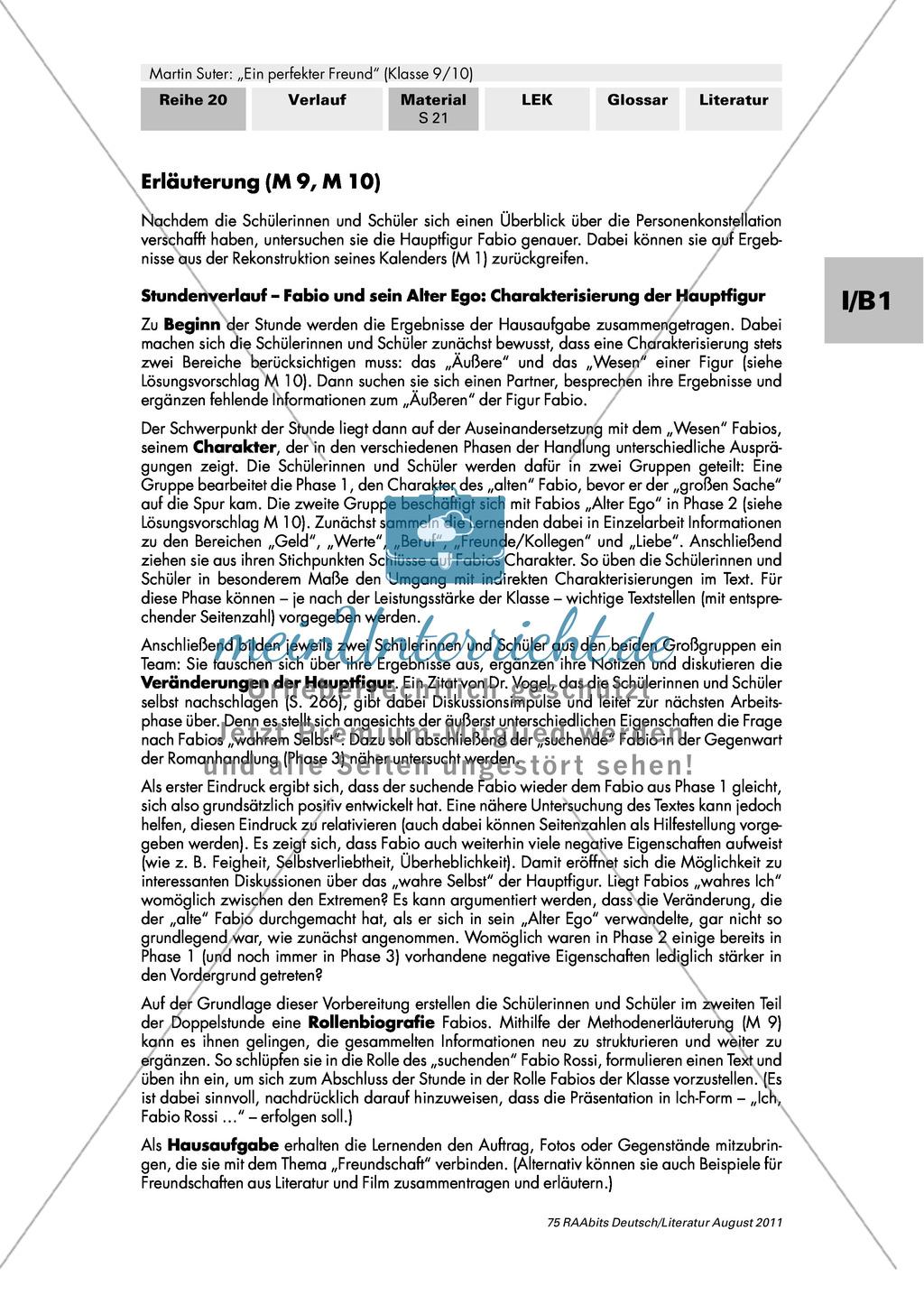 Martin Suter u0026quot;Ein perfekter Freundu0026quot;: Charakterisierung der ...