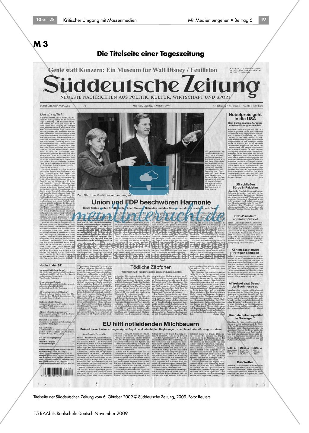 Schlagzeilen und Bilder: die Titelseite einer Zeitung Preview 0