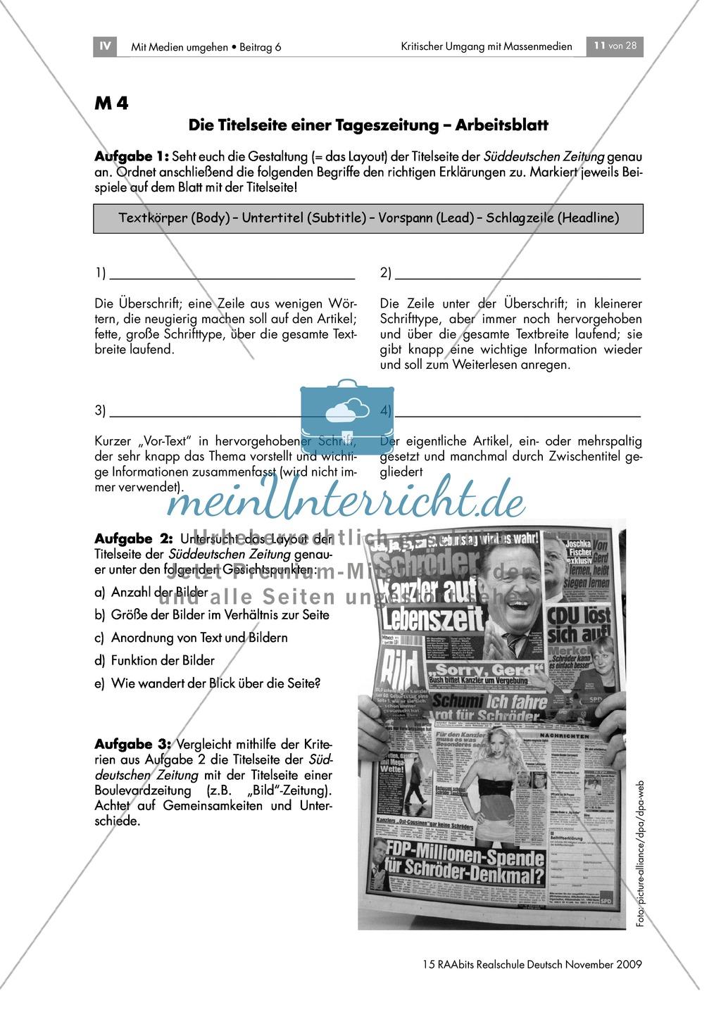 Schlagzeilen und Bilder: die Titelseite einer Zeitung Preview 1