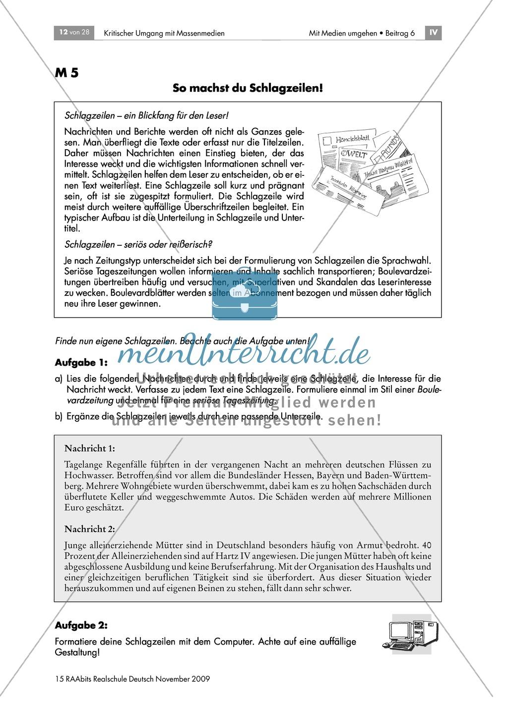 Schlagzeilen und Bilder: die Titelseite einer Zeitung Preview 2
