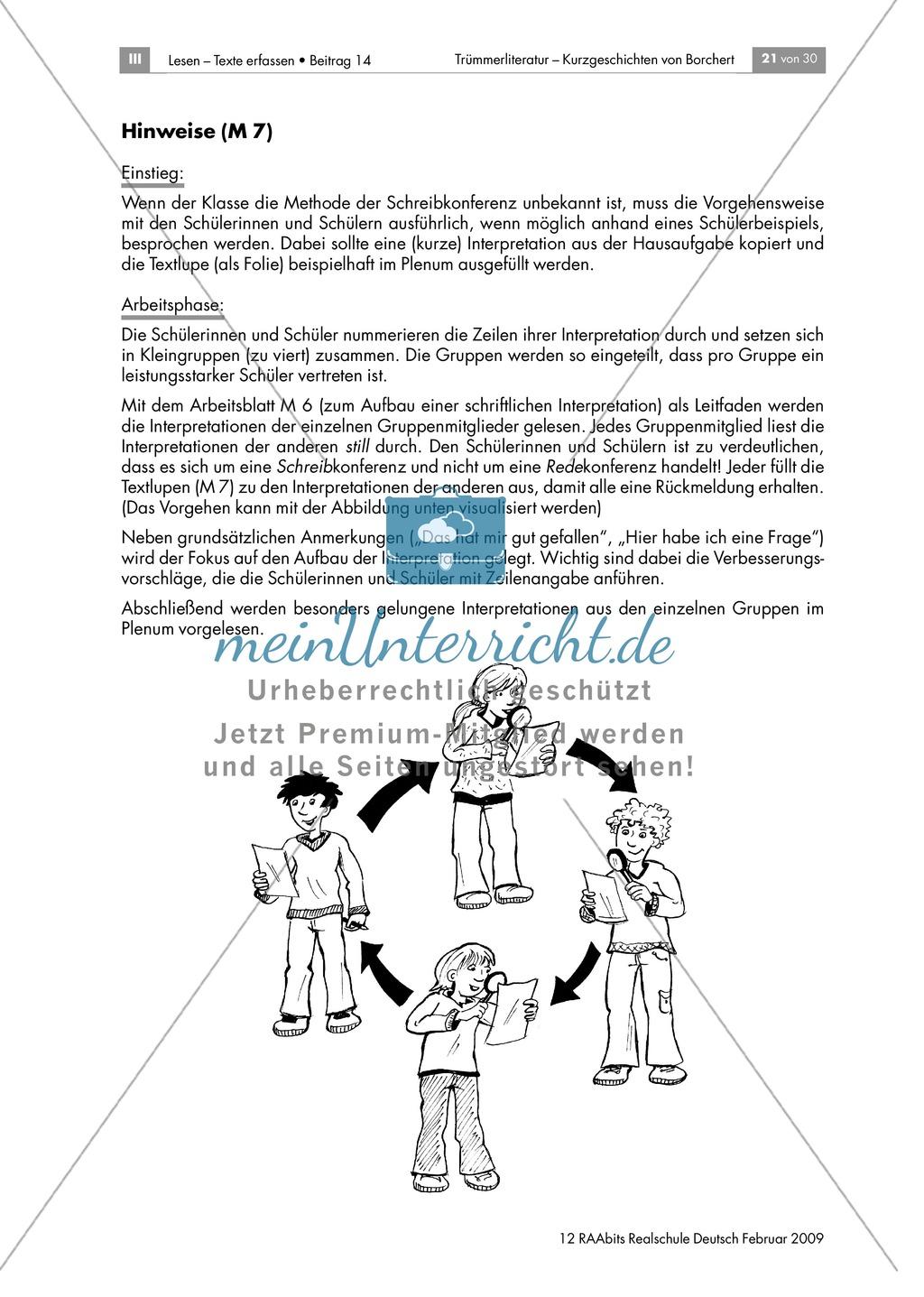 Schreibkonferenz zu Interpreationen von Borcherts