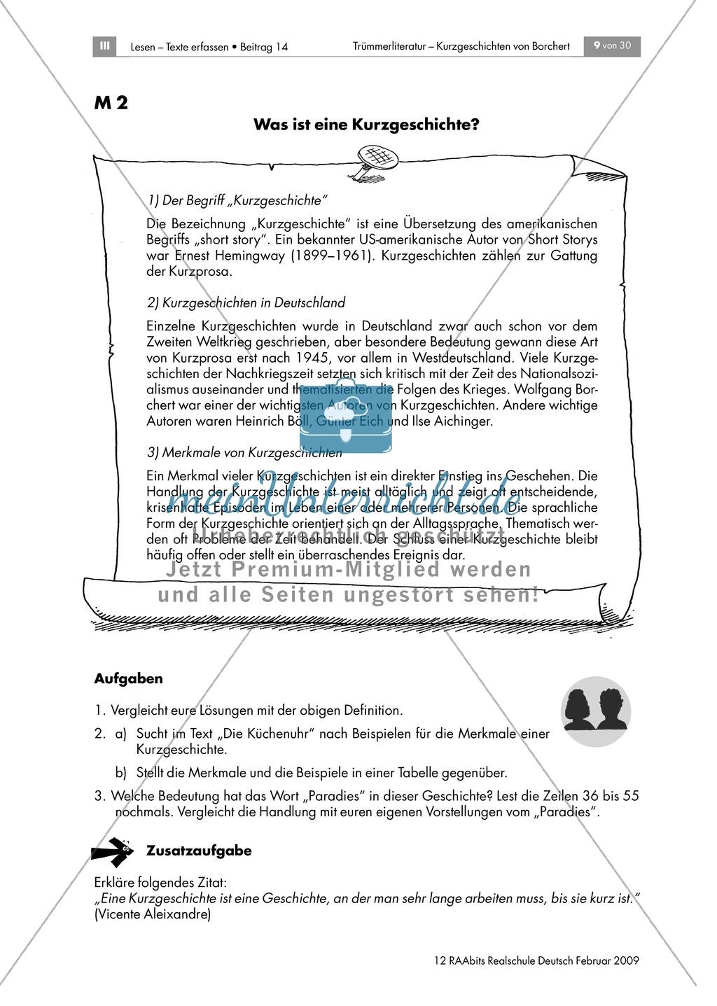 Arbeitsblatt Interpretation Kurzgeschichte : Merkmale einer kurzgeschichte anhand von borcherts quot die