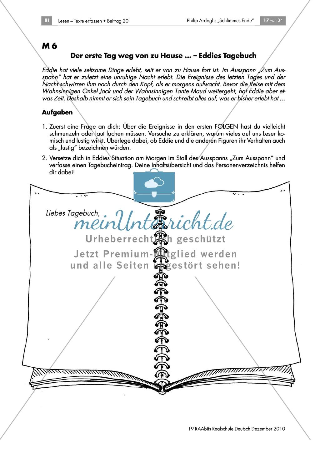 """Erstellen eines Tagebucheintrags aus der Perspektive der Hauptfigur in """"Schlimmes Ende""""von Philip Ardagh Preview 1"""