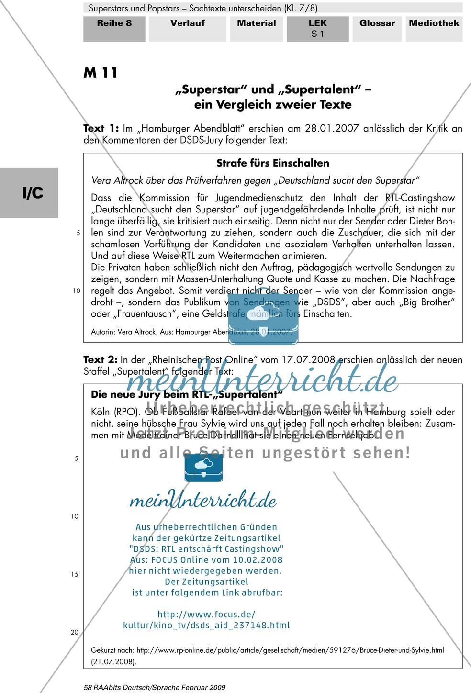 Lernerfolgskontrolle: Thema Superstars und Popstars - Sachtexte unterscheiden: Ein Vergleich zweier Texte Preview 1