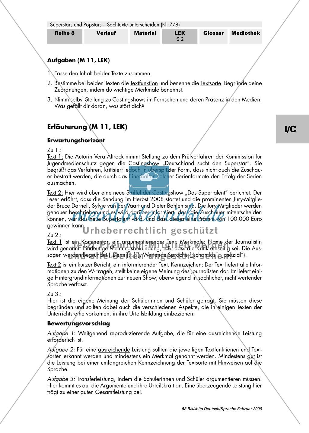 Lernerfolgskontrolle: Thema Superstars und Popstars - Sachtexte unterscheiden: Ein Vergleich zweier Texte Preview 2