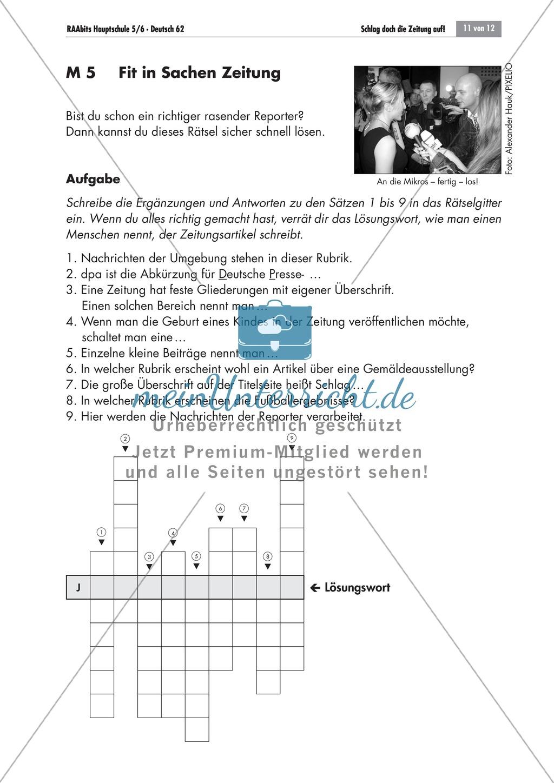 Thema Zeitung: Merkmale einer Zeitung anhand eines Kreuzworträtsels erarbeiten Preview 0