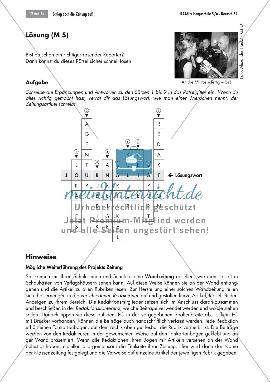 Thema Zeitung: Merkmale einer Zeitung anhand eines Kreuzworträtsels erarbeiten Preview 1