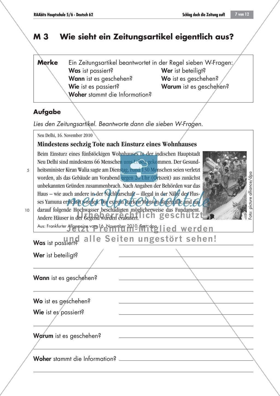Thema Zeitung; Merkmale eines Zeitungsartikels kennen lernen Preview 0