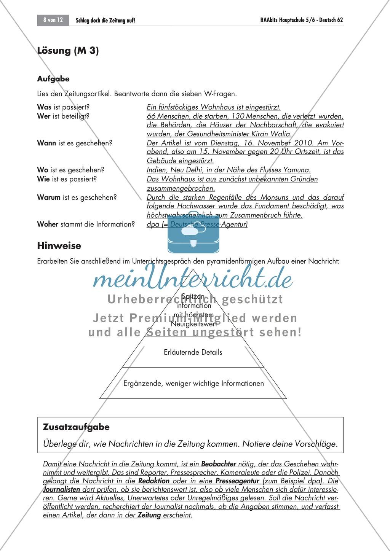 Thema Zeitung; Merkmale eines Zeitungsartikels kennen lernen Preview 1