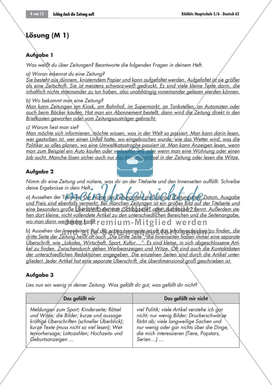 Die Zeitung als Informationsmedium: Struktur + Inhalt + Verfassen von Zeitungsartikeln Preview 1