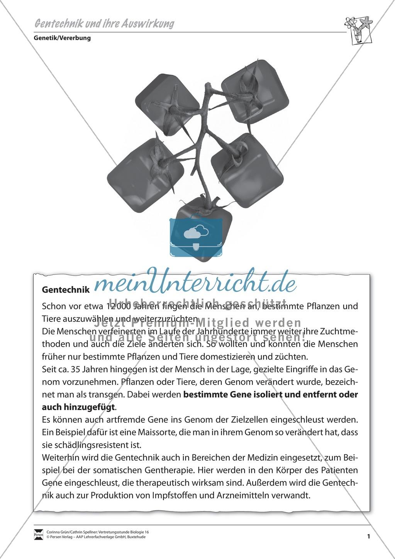 Material für Vertretungsstunden: Gentechnik und ihre Auswirkung Preview 0