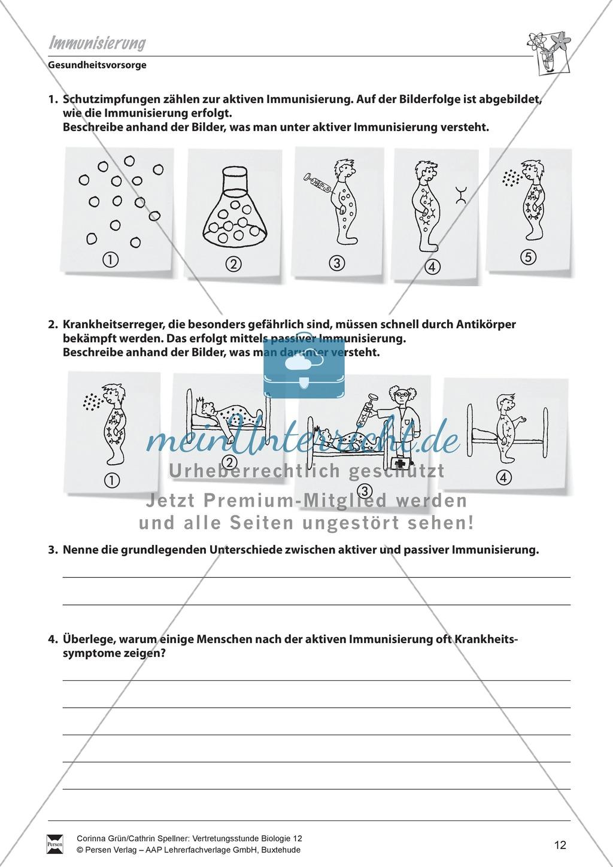 Immunisierung aktiv-passiv: Gesundheitsvorsorge, Impfung - Vertretungsstunde Preview 1