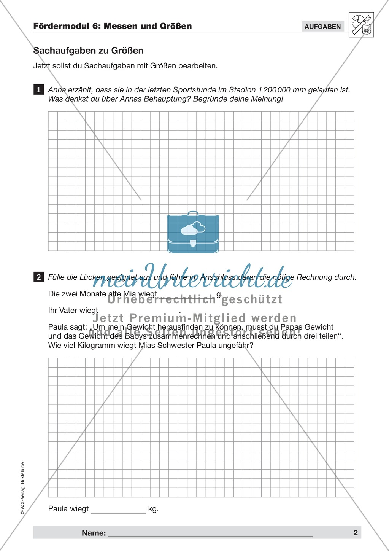 Textaufgaben zur Messung verschiedener Größen- und Maßangaben ...