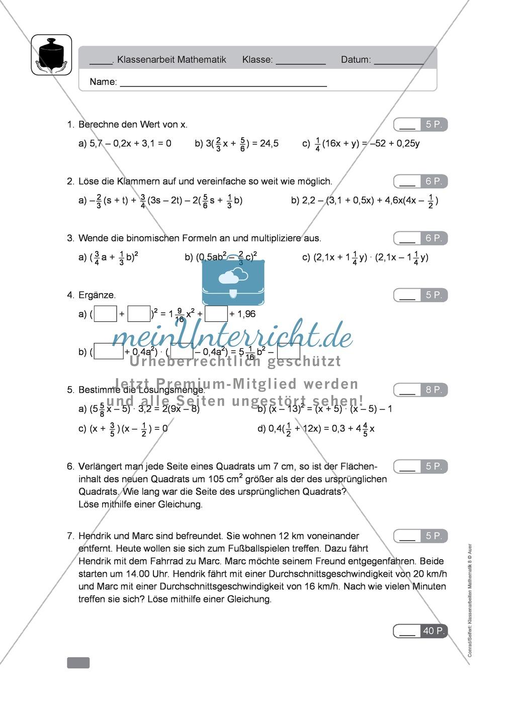 Vorschläge für eine Klassenarbeit zum Thema Terme und Gleichungen ...