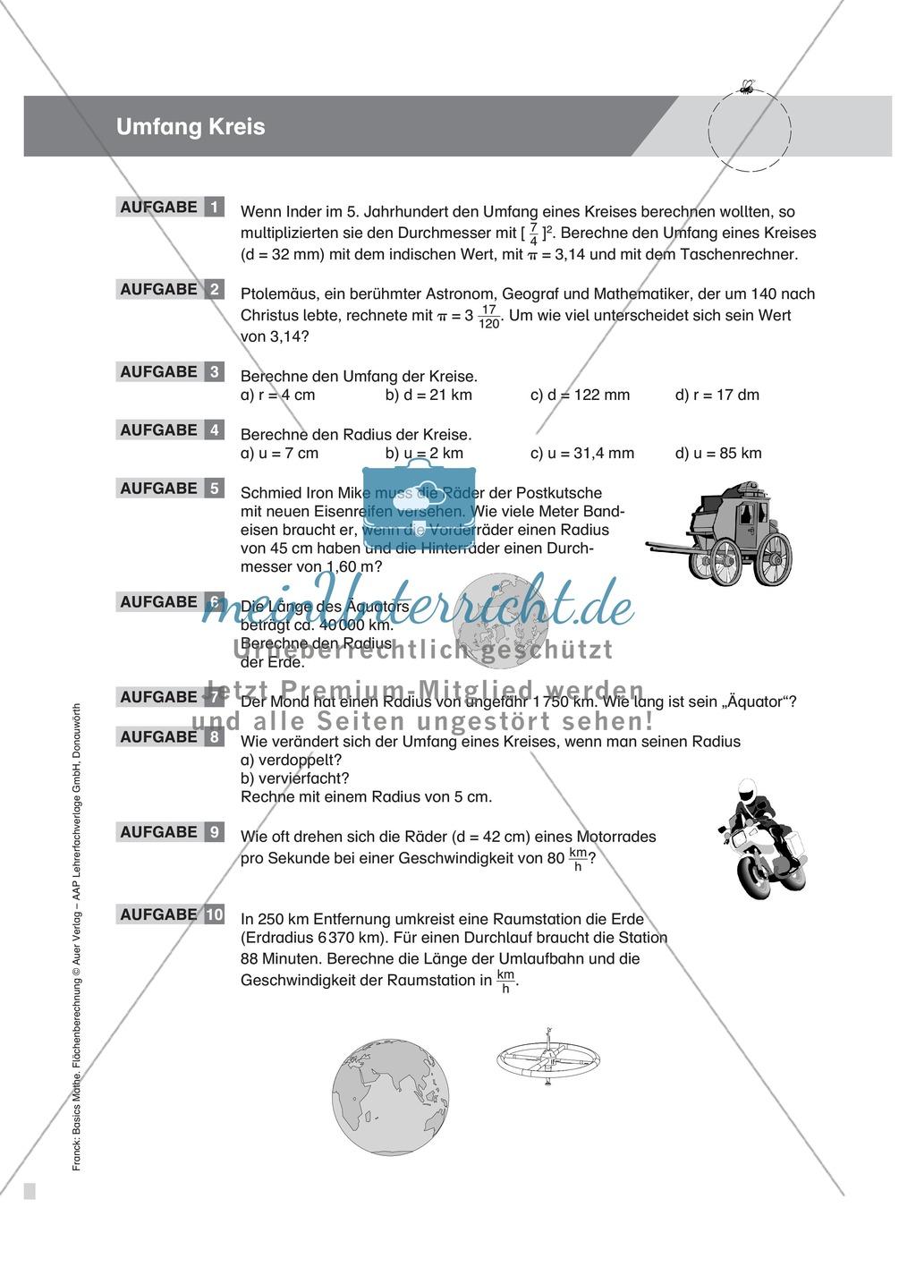 Berechnung des Umfangs und Flächeninhalts vom Kreis, mit Beispielen und Übungsaufgaben Preview 2