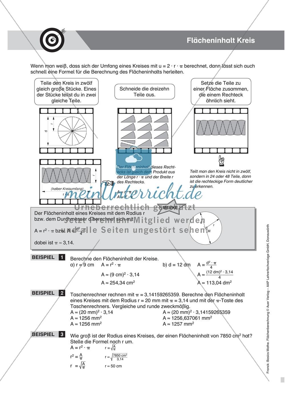 Berechnung des Umfangs und Flächeninhalts vom Kreis, mit Beispielen und Übungsaufgaben Preview 3