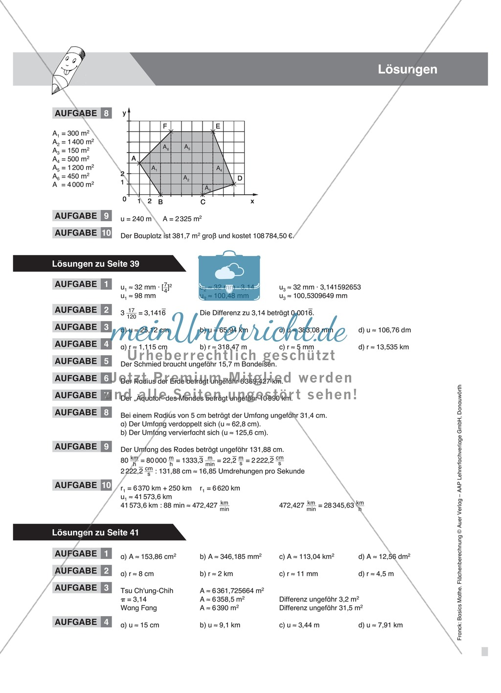 Berechnung des Umfangs und Flächeninhalts vom Kreis, mit Beispielen und Übungsaufgaben Preview 5