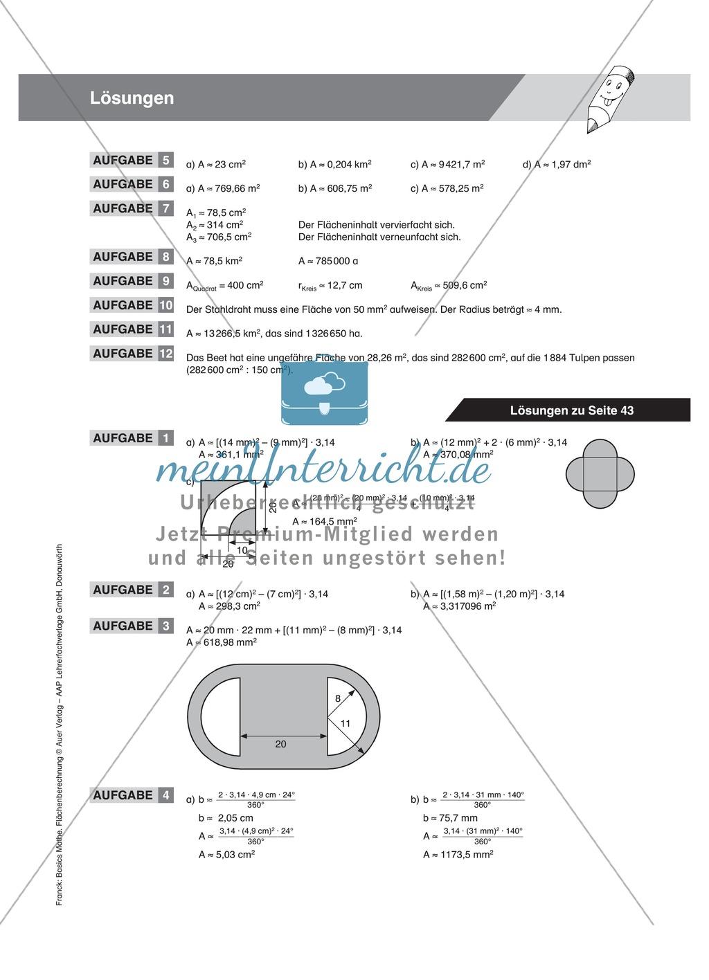 Berechnung des Umfangs und Flächeninhalts vom Kreis, mit Beispielen und Übungsaufgaben Preview 6