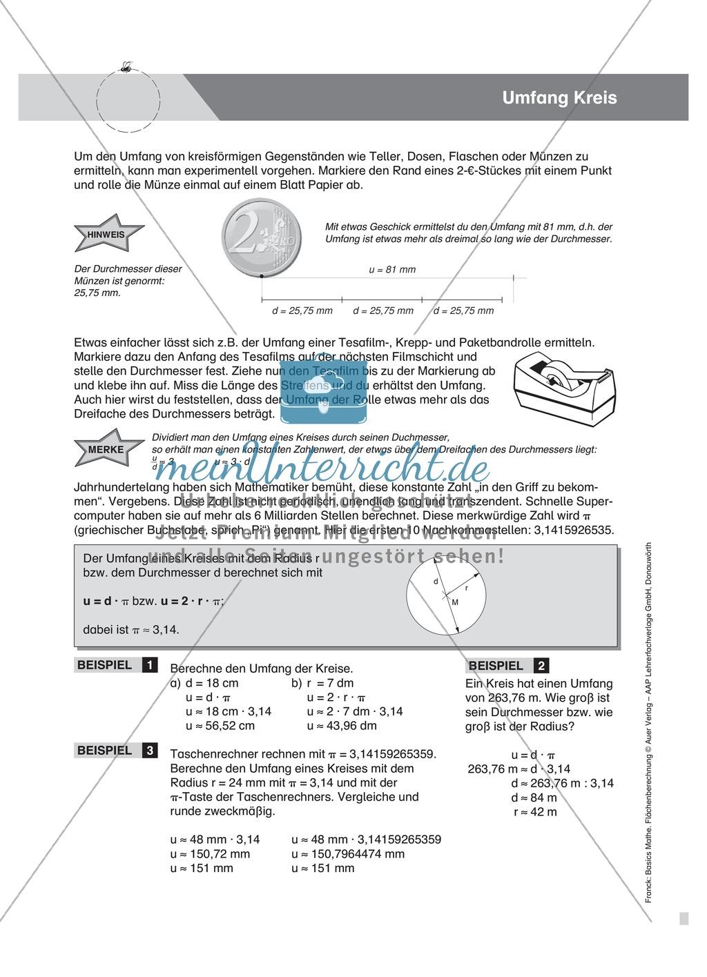 Vermischte Aufgaben zur Berechnung der Kreisfläche Preview 1
