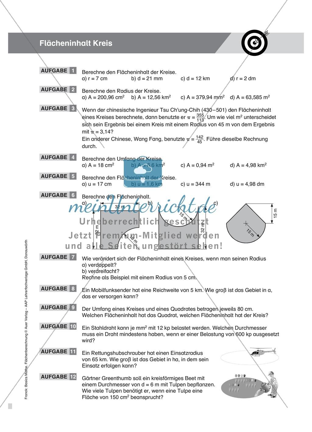 Vermischte Aufgaben zur Berechnung der Kreisfläche Preview 4