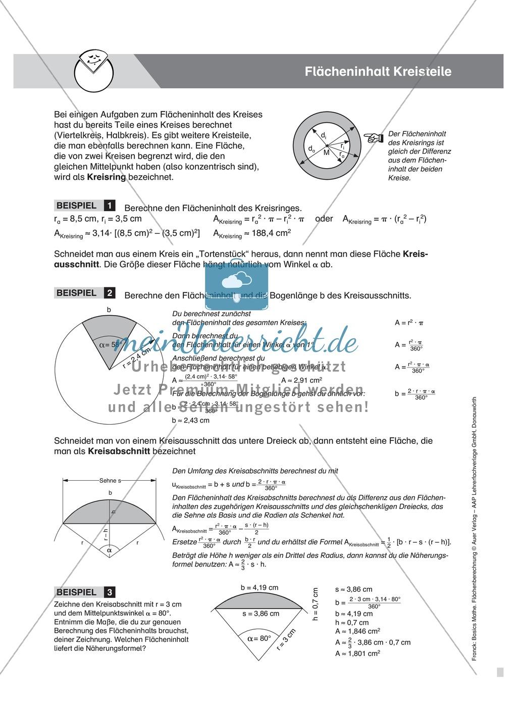 Vermischte Aufgaben zur Berechnung der Kreisfläche Preview 5