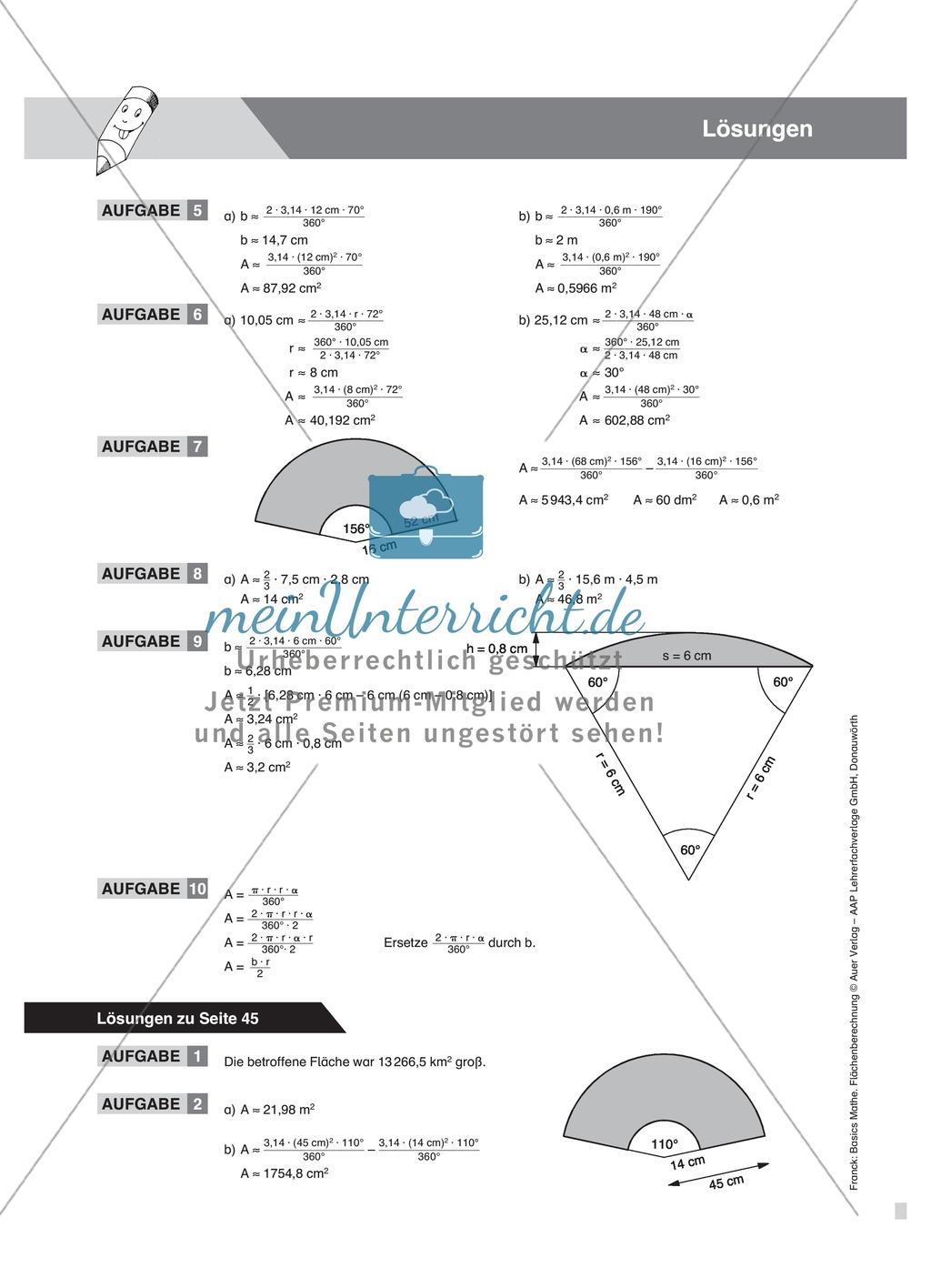 Vermischte Aufgaben zur Berechnung der Kreisfläche - meinUnterricht