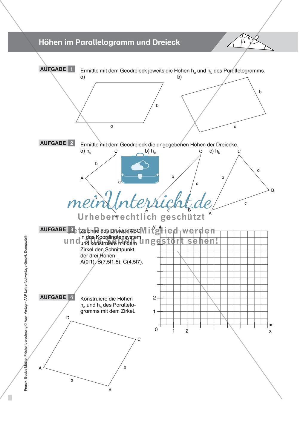 Höhenbestimmung im Parallelogramm und Dreieck, mit Definitionen, Beispielen und Aufgaben Preview 2