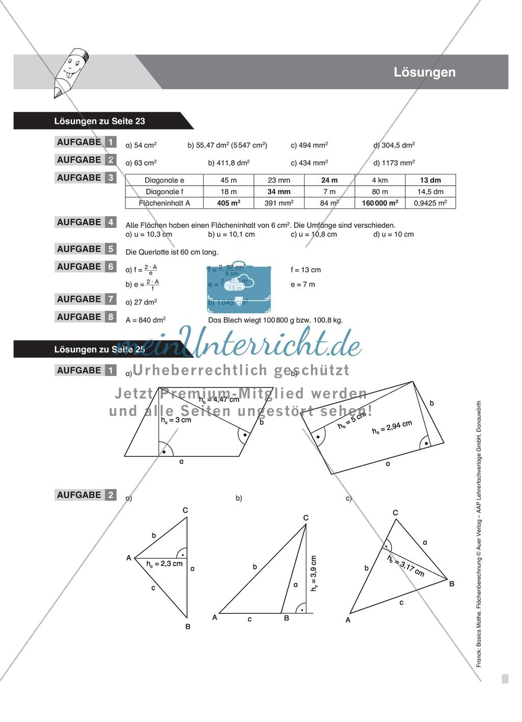 Höhenbestimmung im Parallelogramm und Dreieck, mit Definitionen, Beispielen und Aufgaben Preview 3