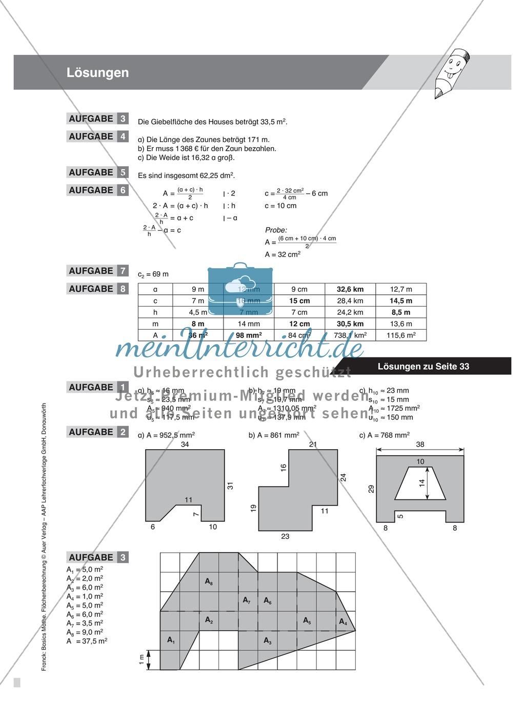 Aufgaben und Beispiele zur Berechnung des Flächeninhalts von ...