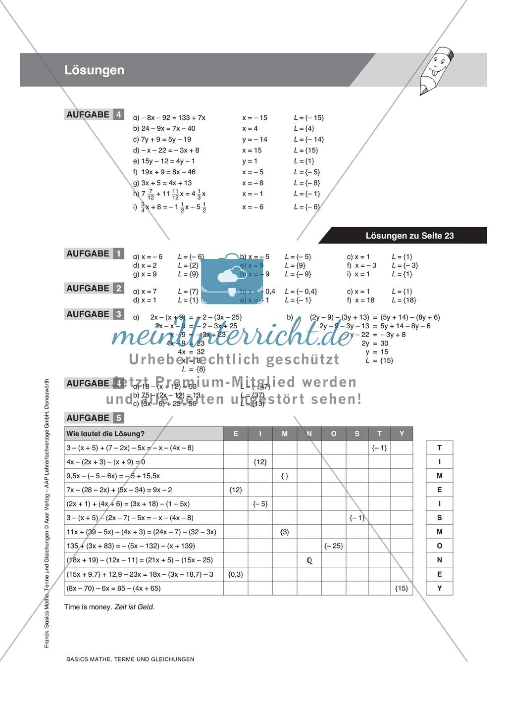Regeln zum Auflösen von Klammern in Gleichungen, mit Beispielen und ...