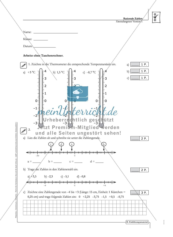 Lernkontrolle und Einstufungstest zum Thema rationale Zahlen, mit Auswertungsbogen Preview 1