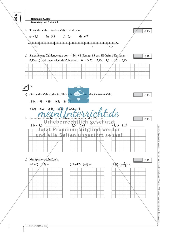 Lernkontrolle und Einstufungstest zum Thema rationale Zahlen, mit Auswertungsbogen Preview 2