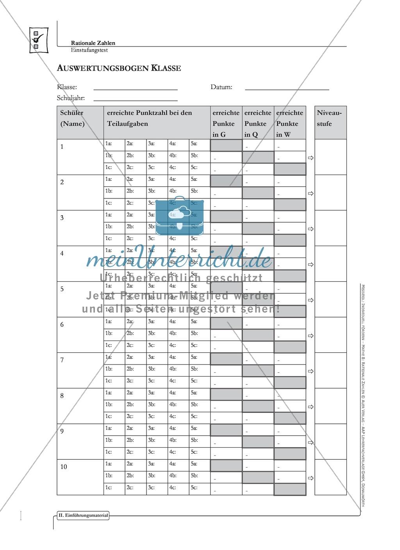 Lernkontrolle und Einstufungstest zum Thema rationale Zahlen, mit Auswertungsbogen Preview 4