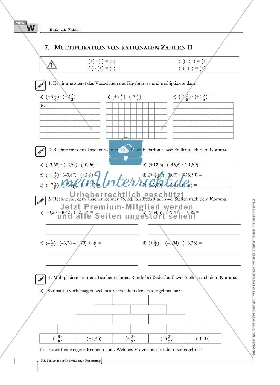 Multiplikation und Division rationaler Zahlen an verschiedenen ...