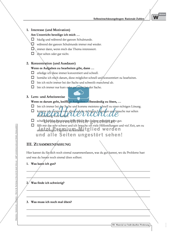 Selbsteinschätzungsbogen für Schüler zum Themenbereich rationale ...