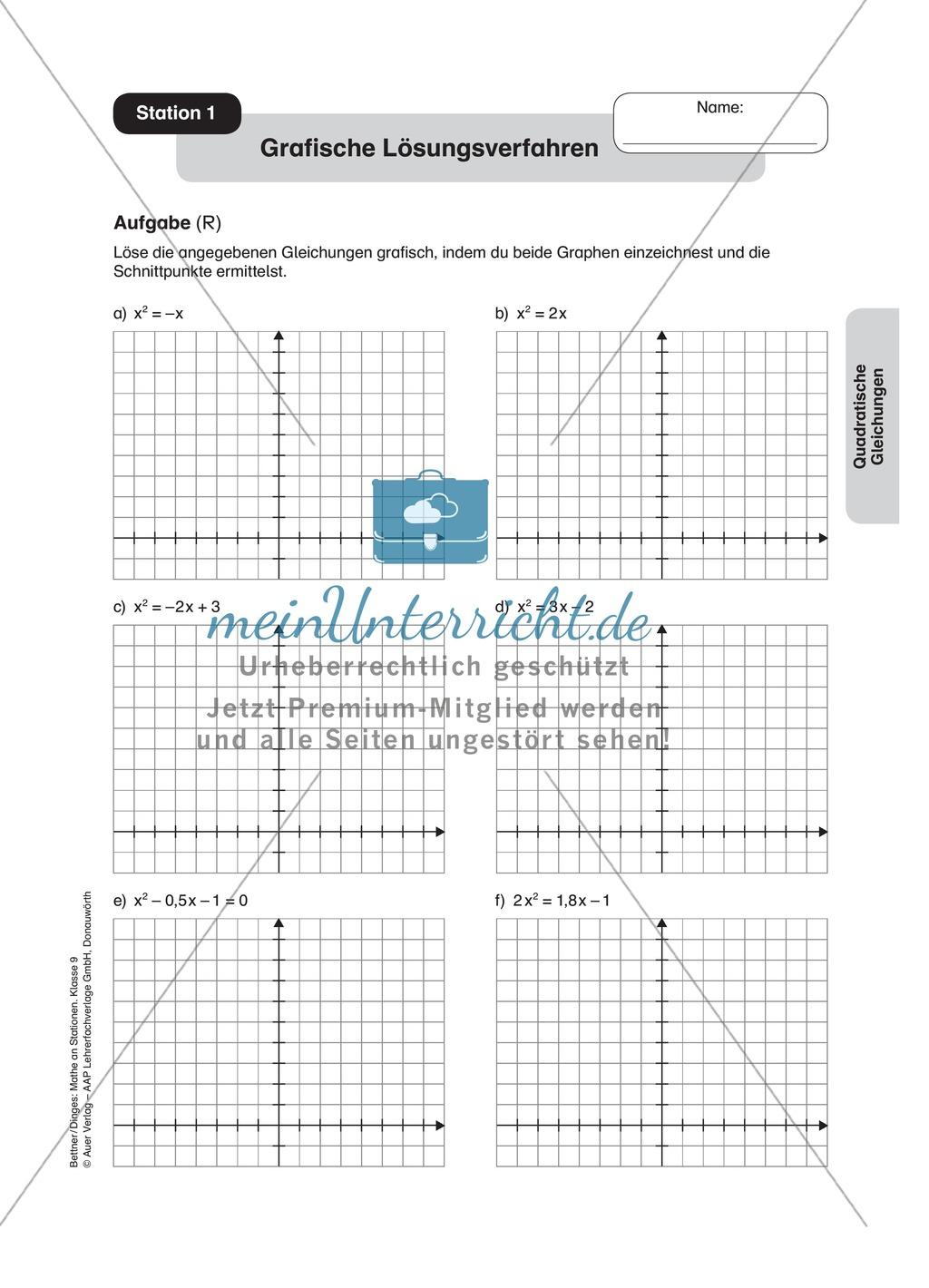 Stationenlernen zum Themenfeld quadratische Gleichungen - meinUnterricht
