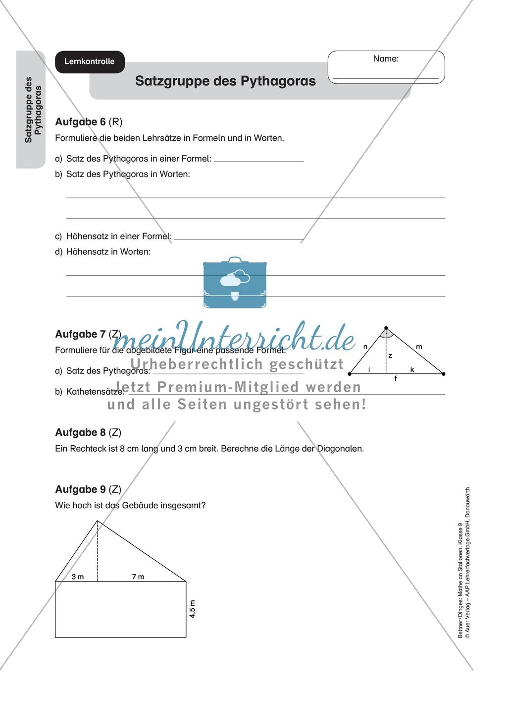 Stationenlernen zum Satz des Pythagoras, mit Memory und ...