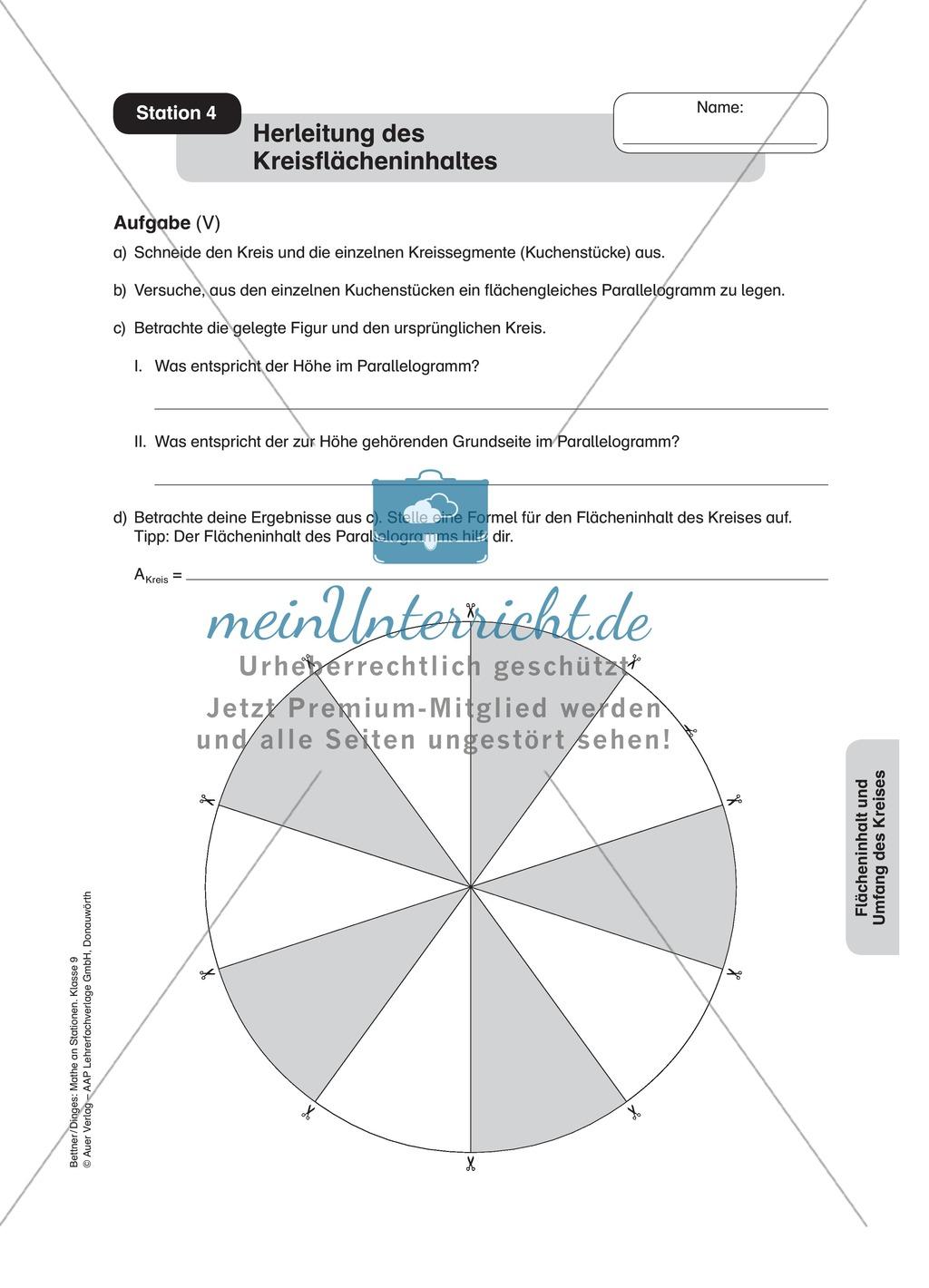 Stationenlernen zum Themenfeld Flächeninhalt und Umfang des Kreises ...