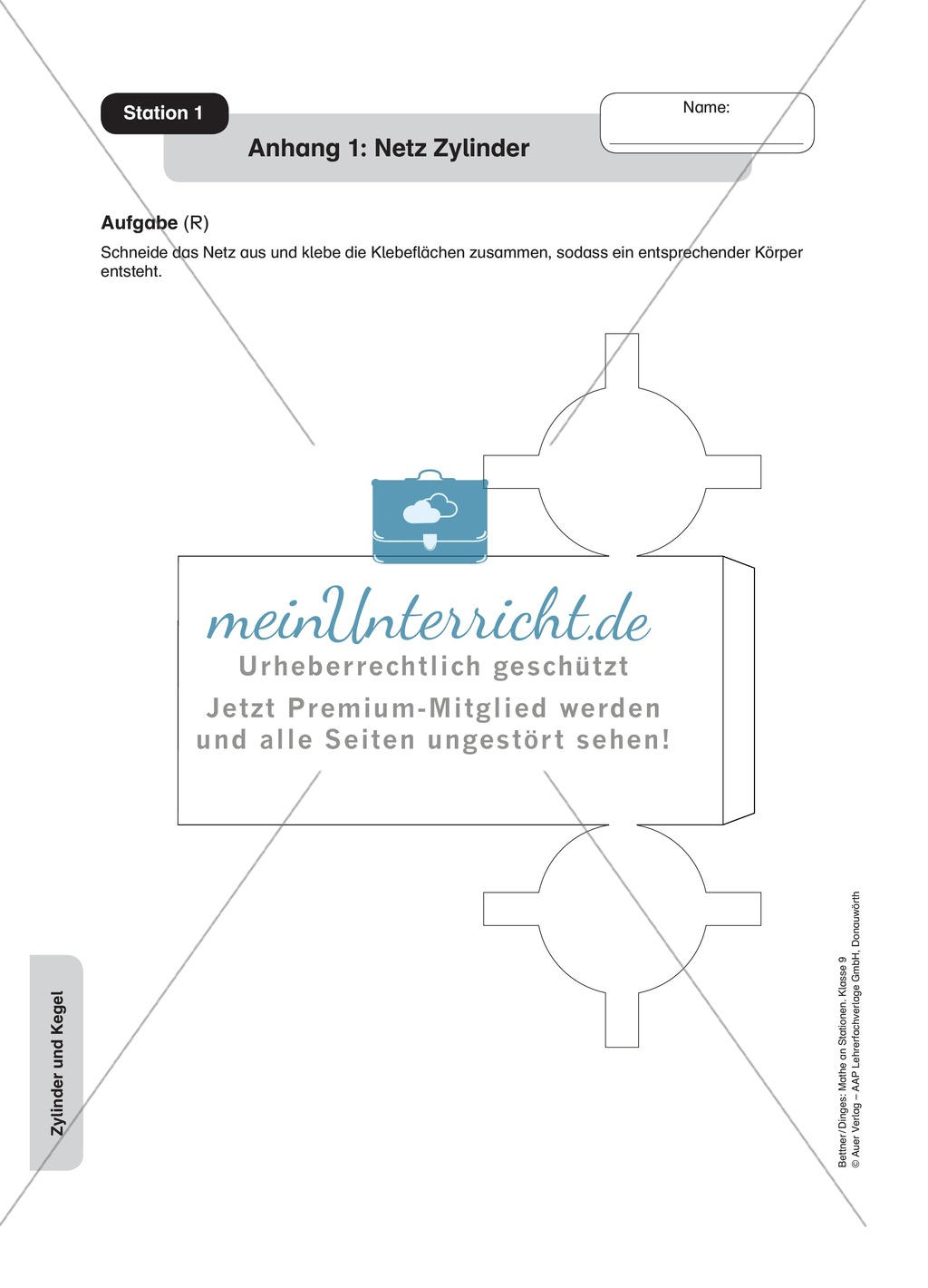 Stationenlernen zu den Eigenschaften von Zylinder und Kegel ...