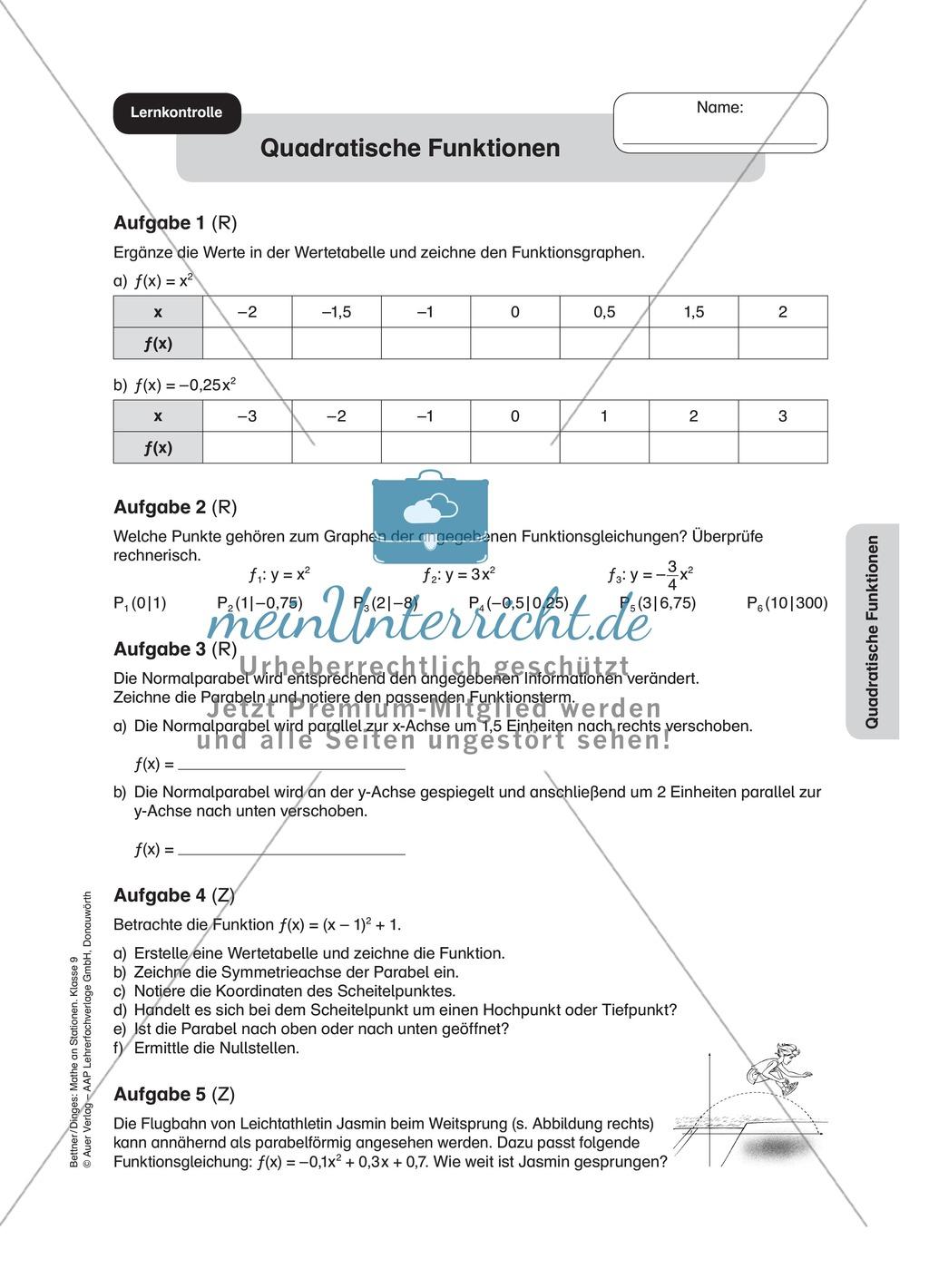 Stationenlernen zum Themenfeld quadratische Funktionen Preview 10