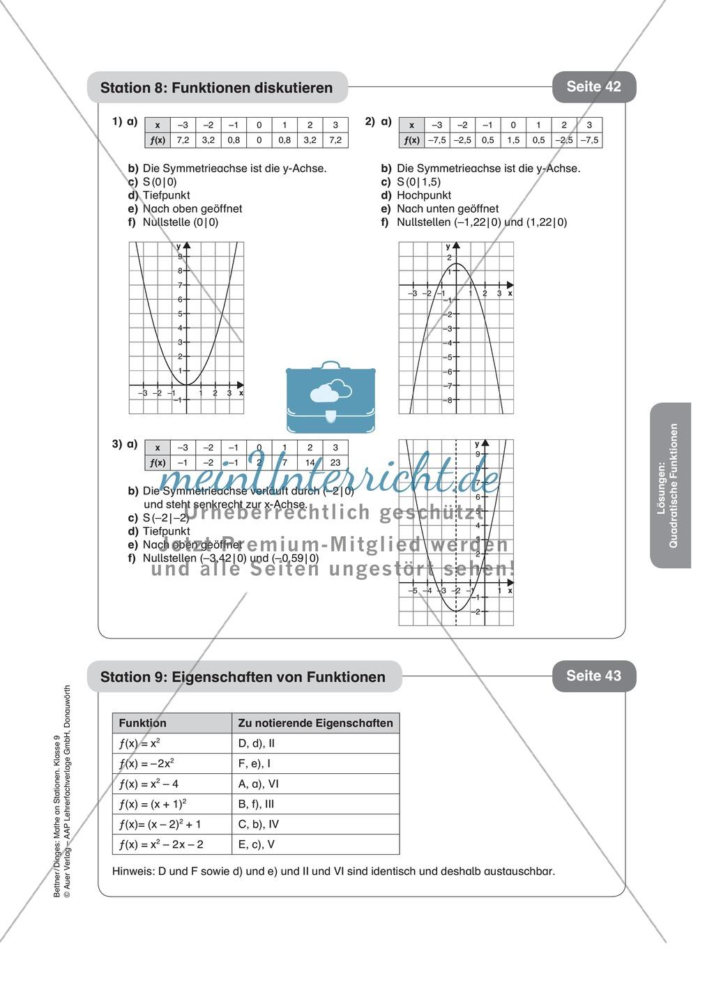 Stationenlernen zum Themenfeld quadratische Funktionen Preview 16