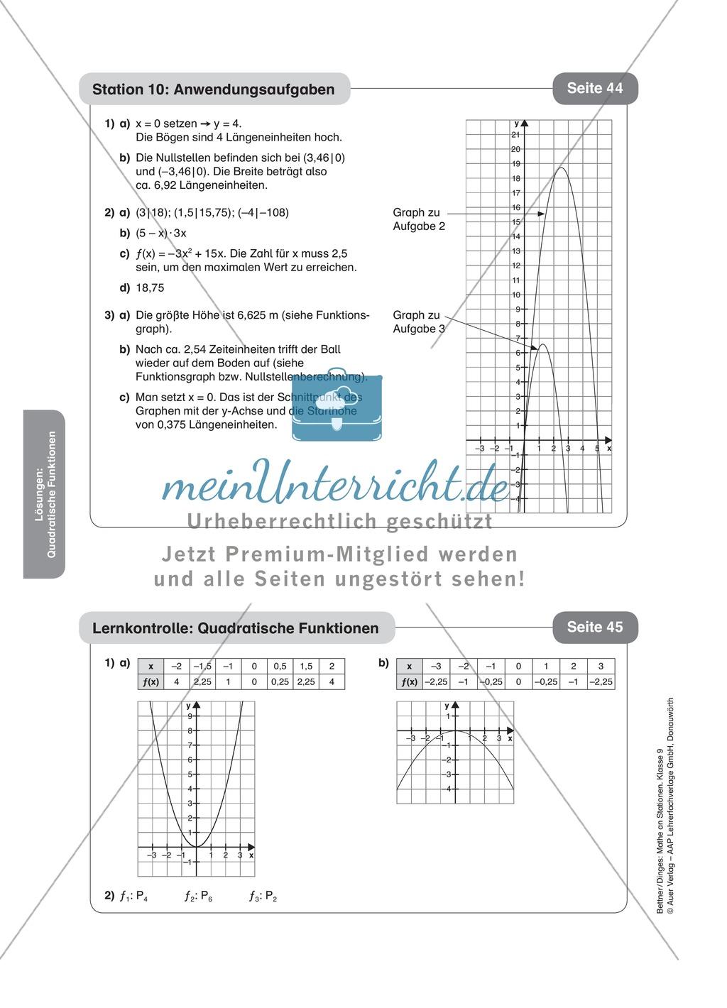 Stationenlernen zum Themenfeld quadratische Funktionen Preview 17