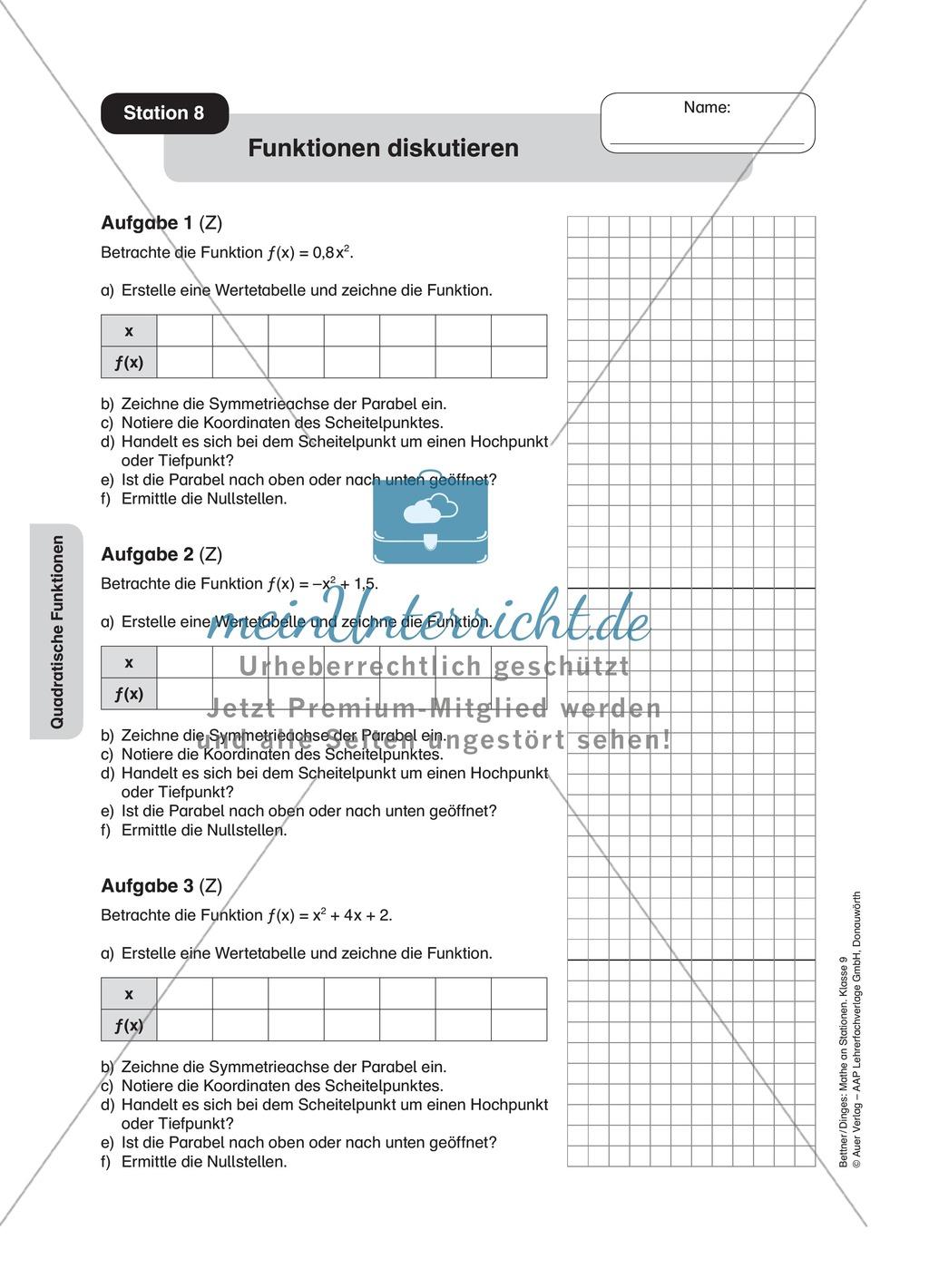 Stationenlernen zum Themenfeld quadratische Funktionen Preview 7