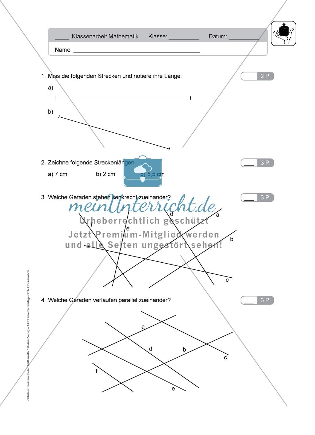 Klassenarbeit zur Geometrie Preview 1