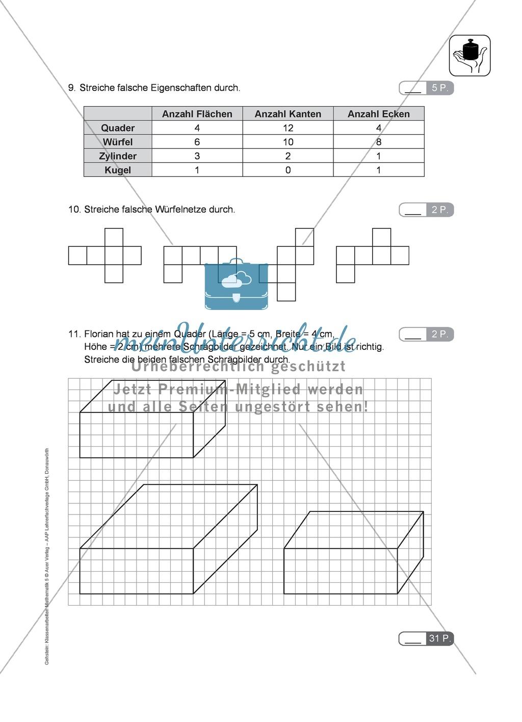 Klassenarbeit zur Geometrie Preview 3