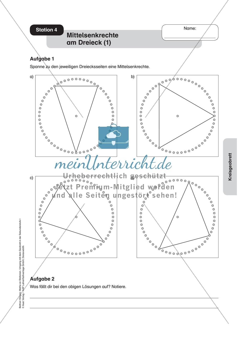 Einführung in die Mittelsenkrechte am Dreieck mit Hilfe eines ...