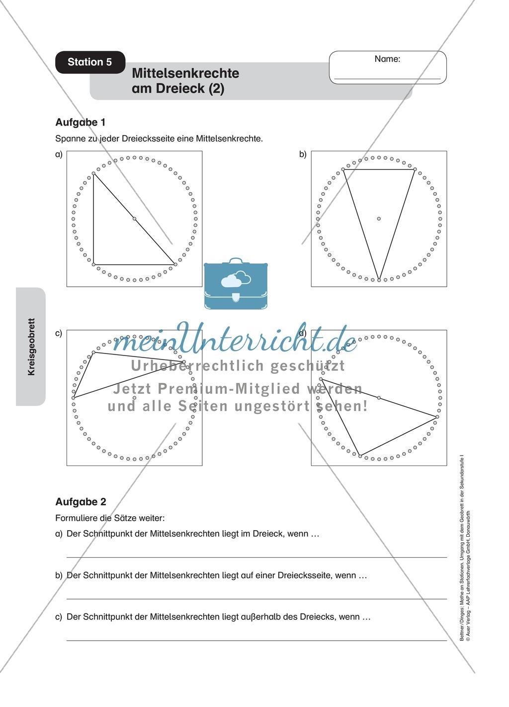 Einführung in die Mittelsenkrechte am Dreieck mit Hilfe eines Kreises Preview 3