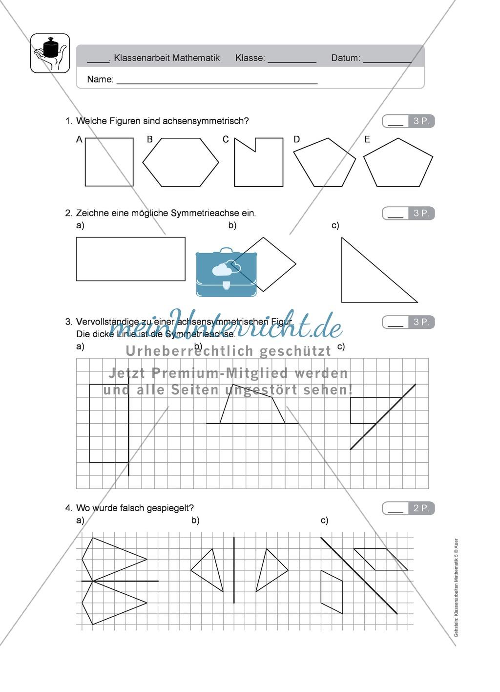 Klassenarbeit oder Lernkontrolle zur Achsensymmetrie - meinUnterricht