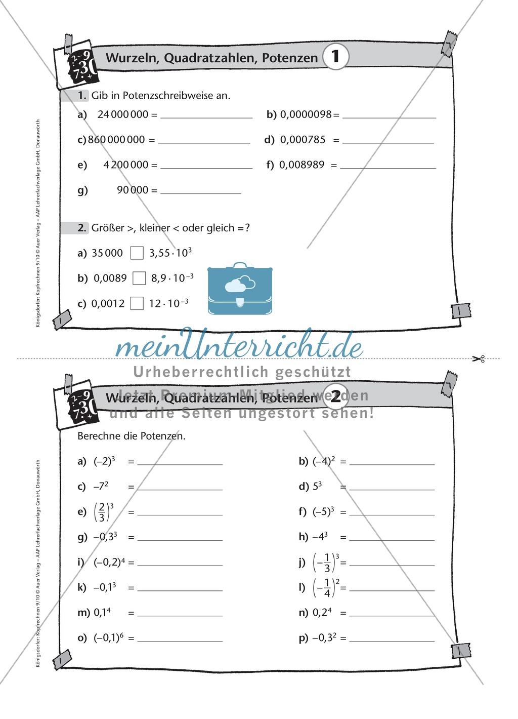 Karteikarten mit Aufgaben aus dem Themenfeld Wurzeln, Quadratzahlen und Potenzen Preview 1